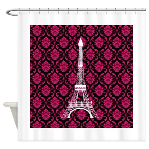 Pink And Black Curtains Inspiration Pink White And Black Eiffel Tower Shower Curtain By Beachbumming