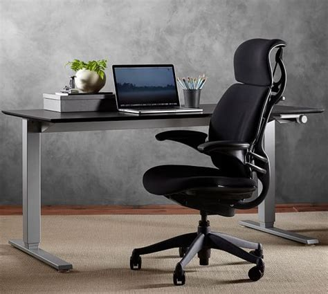 humanscale 174 sit stand desk silver base pottery barn