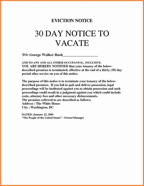 30 day notice vacate template eviction simple 25 picture
