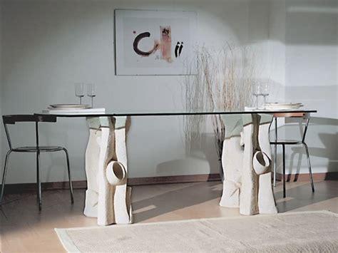 basi per tavoli in cristallo tavolo da pranzo con piano in cristallo e base in pietra