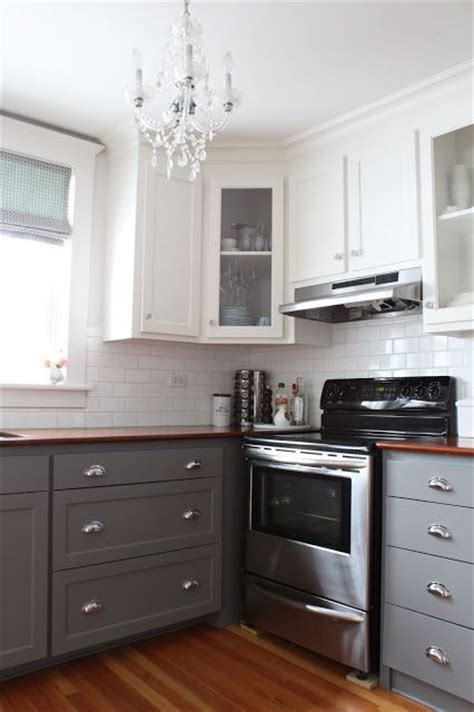 white upper cabinets grey lower white upper cabinets dark lower kitchens pinterest