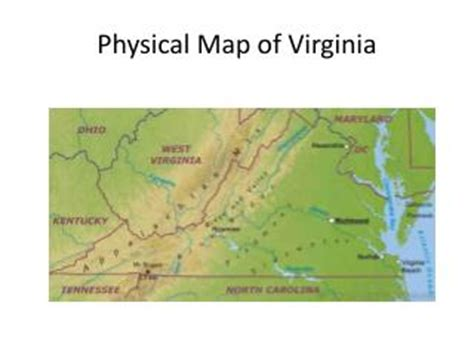 physical map of virginia ppt the virginia colony powerpoint presentation id 7071278