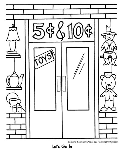 christmas shopping coloring pages five and dime store