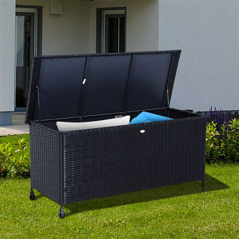 Outdoor Storage Cabinet On Wheels by Outsunny Outdoor Rattan Storage Box Garden Chest Trunk