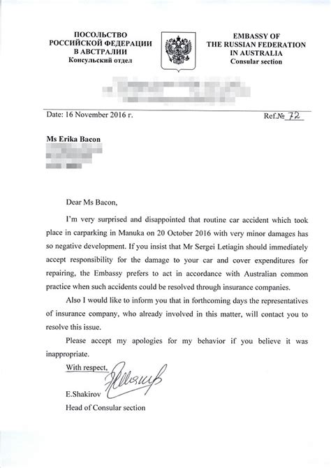 Us Embassy Moscow Letter canberra motorist calls as russian embassy worker bullied at coles daily mail