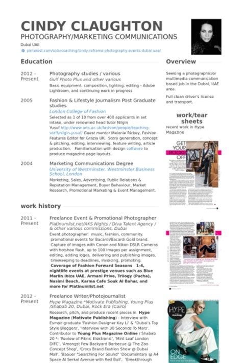 Business Resume Samples by Photographer Resume Samples Visualcv Resume Samples Database
