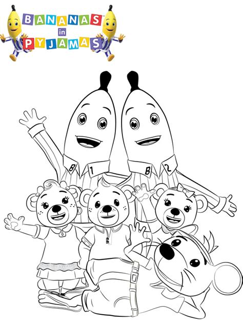 free online bananas in pyjamas colouring page