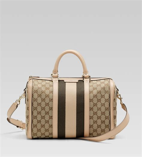 Bross Gucci lyst gucci vintage web boston bag in brown