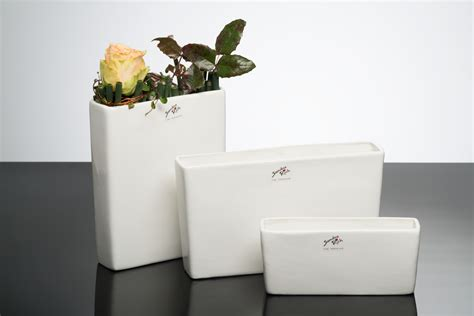 porcelain vase black white rectangular white by