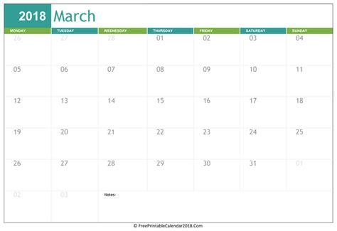 march 2018 calendar templates
