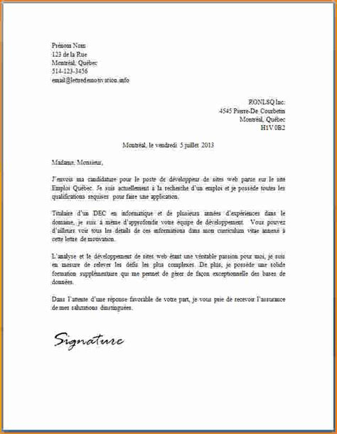 Motivation De Lettre Type 10 Lettre De Motivation Type Candidature Spontan 233 E Exemple Lettres
