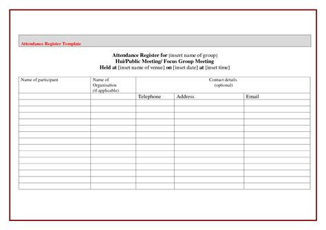 template for attendance register pin attendance register template on