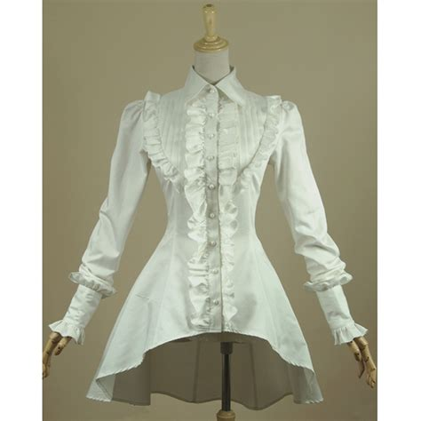 Blouse White Vintage Embriodery vintage ruffled collar blouse collar blouses