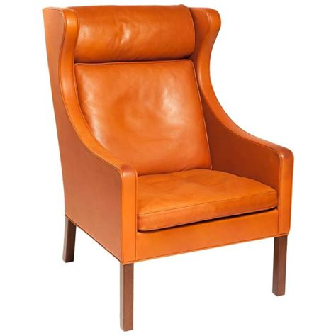 Orange Leather Armchair by Armchair Designed By B 248 Rge Mogensen In Orange Leather For Sale At 1stdibs