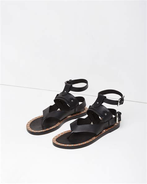 marant sandals marant justy leather sandals in black lyst
