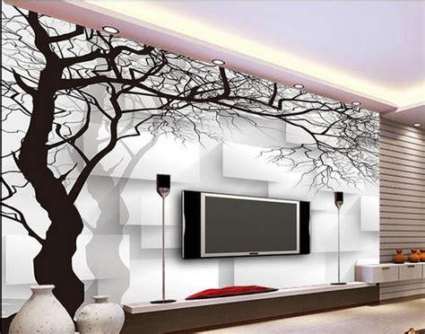 wallpaper dinding putih kertas dinding pohon hitam dan putih kotak non woven