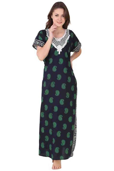 nighty gown design cotton wholesale ladies printed night wear one piece