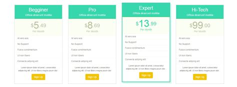 css layout snippets 20 css snippets for pricing tables