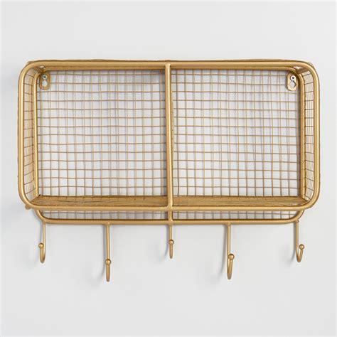 Wall Art Ideas For Bathroom Gold Wire Braedyn 2 Bin Wall Storage World Market