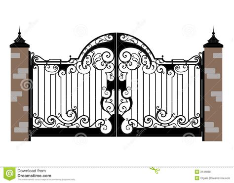 Gothic Revival House Plans by Forged Iron Gate Royalty Free Stock Photos Image 3141888