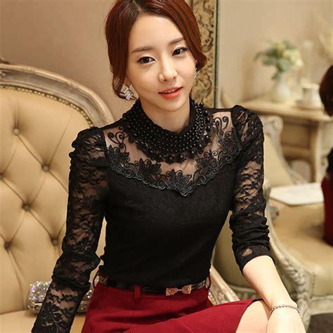 Openwork Sleeve Shirt Black White Size M Xl m 3xl lace tops autumn 2016 blusas new slim plus size lace blouse sleeve casual shirt