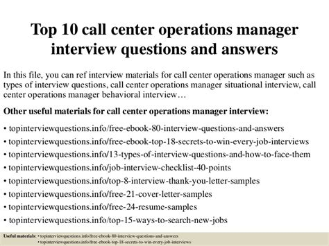 top  call center operations manager interview questions  answers
