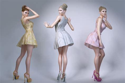 3d model wearing summer dresses 3d model max obj fbx