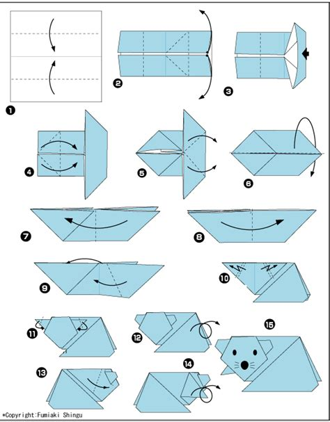 Easy Origami Mouse - origami mouse diagram from paper to