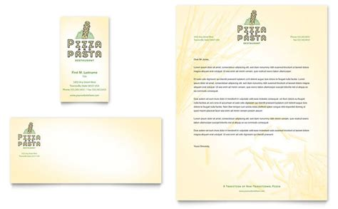 italian pasta restaurant business card letterhead