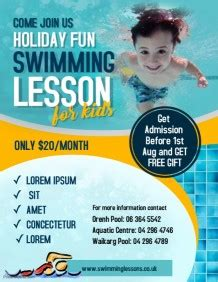 Customizable Design Templates For Swimming Lessons Postermywall Swim Lesson Flyer Template Free