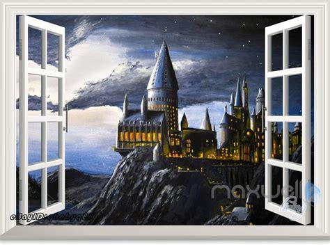 hogwarts wall mural harry potter hogwarts castle 3d window wall decals stickers decor ebay