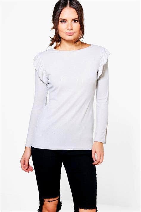 Shoulder Sleeve Top boohoo womens gabriella ruffle shoulder sleeve top ebay