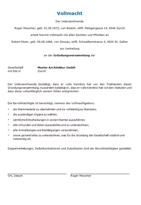 Muster Vollmacht Schweiz Vollmacht Gr 252 Ndungsversammlung Gmbh Muster Zum