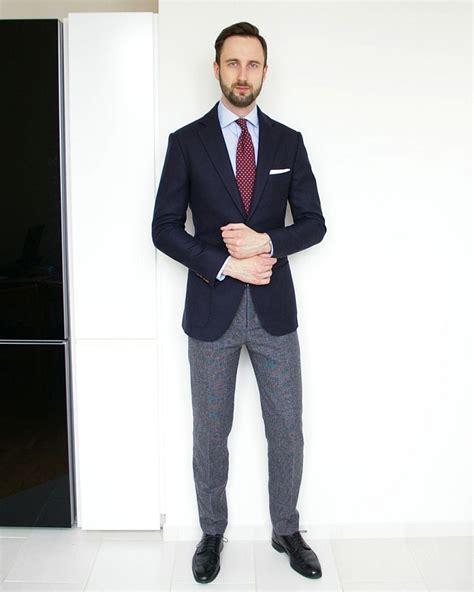 light blue slacks mens navy blazer grey trousers light blue shirt burgundy tie