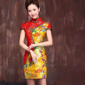 Modern cheongsam short qipao bridal dress traditional clothing for