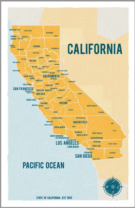 california maps state of california map poster in yellow vintage by vassislavova 30 00 home calm