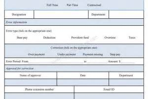 payroll correction form template sle forms microsoft word forms business
