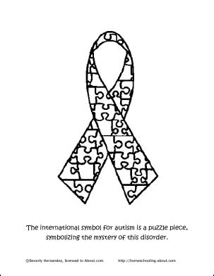 coloring page of autism ribbon spread autism awareness with these printable worksheets
