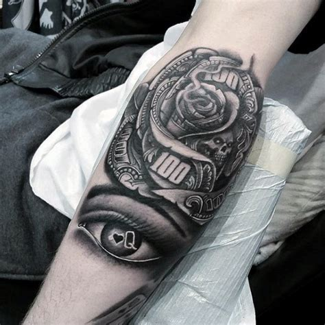 black and white rose tattoo for men 80 money designs for cool currency ink