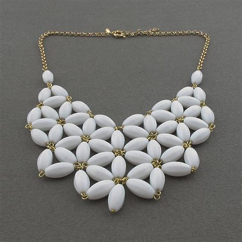 Handmade Bead Jewellery - handmade white fan necklace bib statement necklace