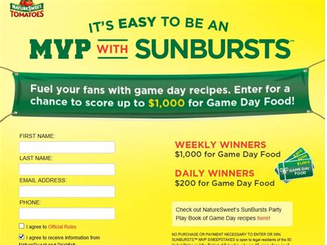 Text Contests Sweepstakes - naturesweet quot it s easy to be an mvp with sunbursts quot text to win sweepstakes