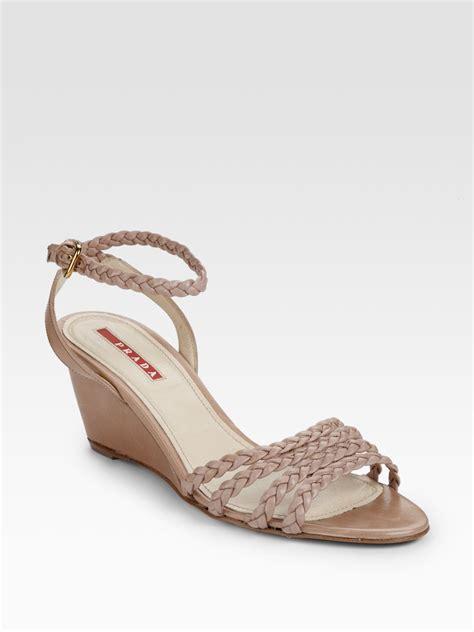 prada wedge sandals prada braided wedge sandals in beige lyst