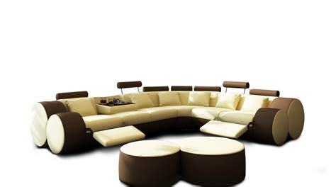 Coffee Tables For Sectionals 3087 Modern Beige And Brown Leather Sectional Sofa And Coffee Table