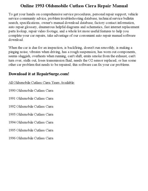 1993 oldsmobile cutlass ciera repair manual online by wayne darton issuu