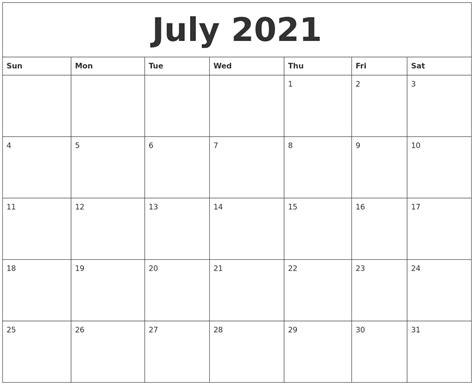 july 2021 month calendar template