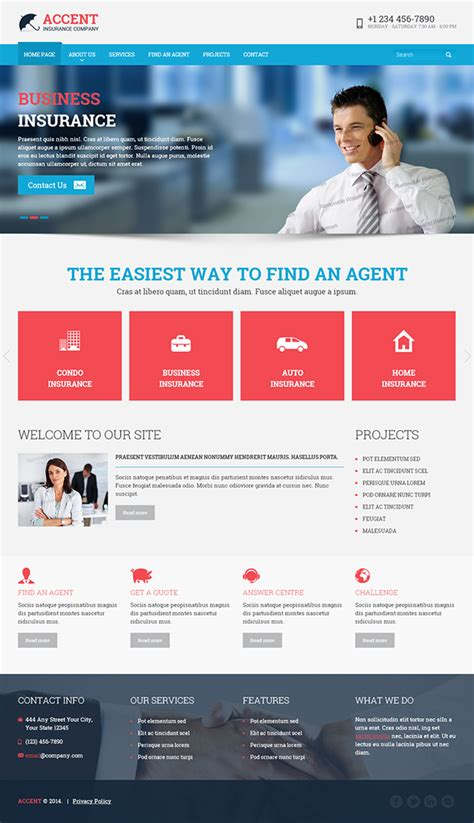 Insurance Company Html Template On Behance Insurance Website Templates