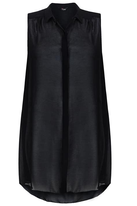 Black Sleeveless Shirt black sheer chiffon longline sleeveless shirt plus size 16 18 20 22 24 26 28 30 32