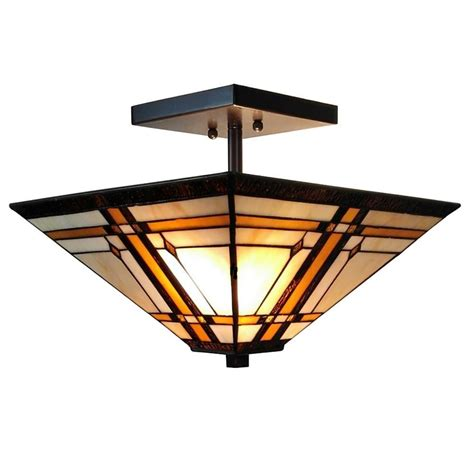 Amora Lighting 2 Light Tiffany Style Mission Semi Flush Mission Style Ceiling Light