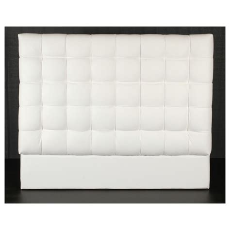 White Leather Headboard by White Leather Squares Headboard