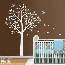 Nursery Wall Tree Decals Tree And Birds Nursery Vinyl Wall Decal Smileywalls Children S On Artfire